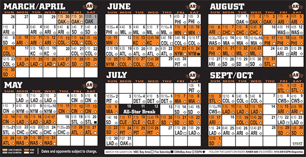 Printable Schedule | SFGiants.com: Schedule