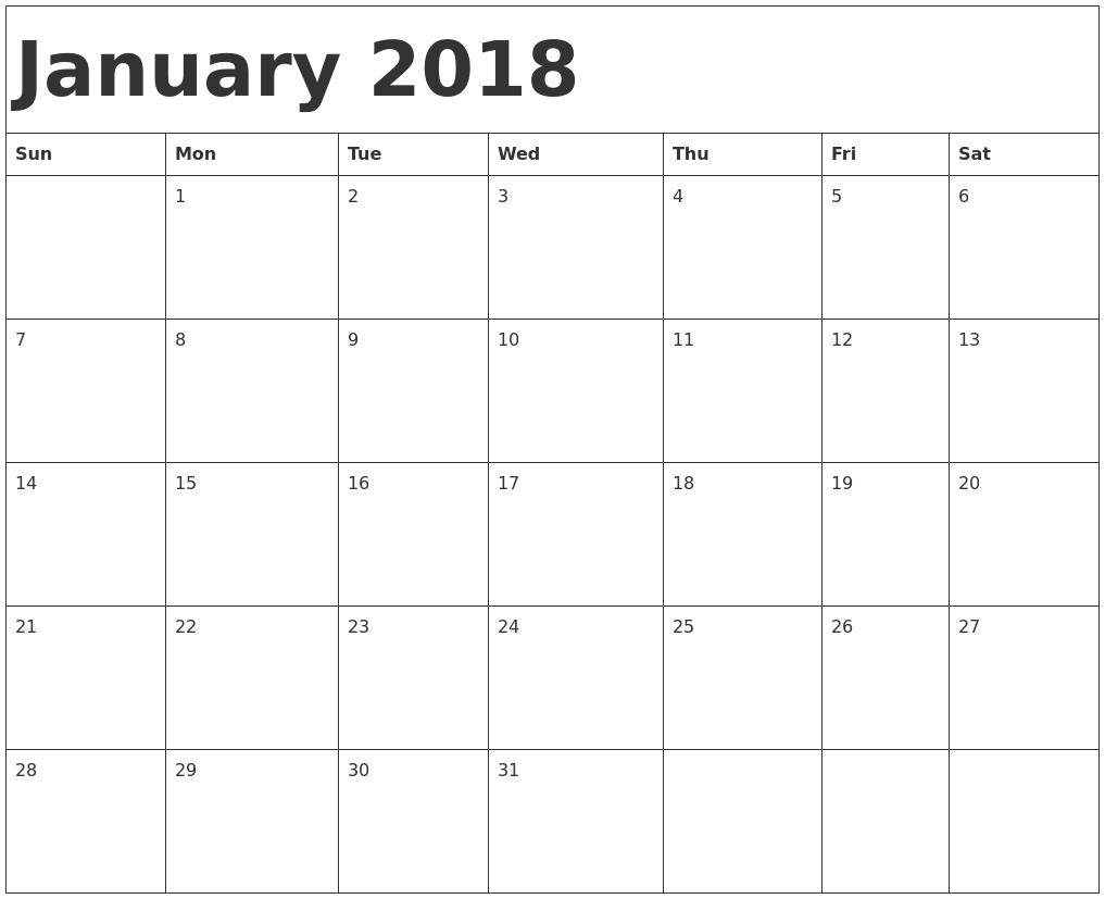 free blank printable calendar 2018 Ideal.vistalist.co