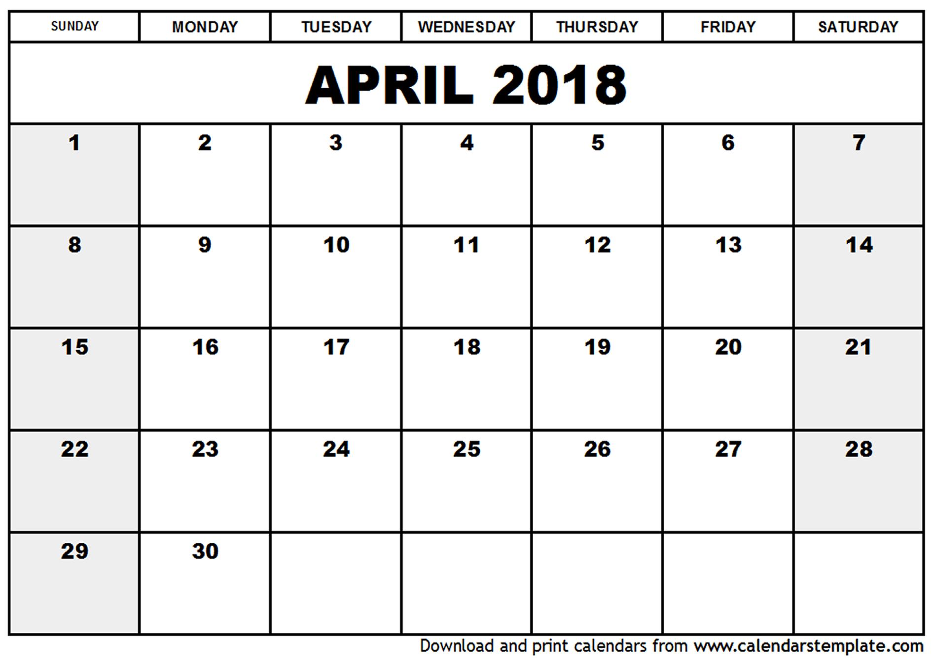 blank calendar template april 2018 Ideal.vistalist.co