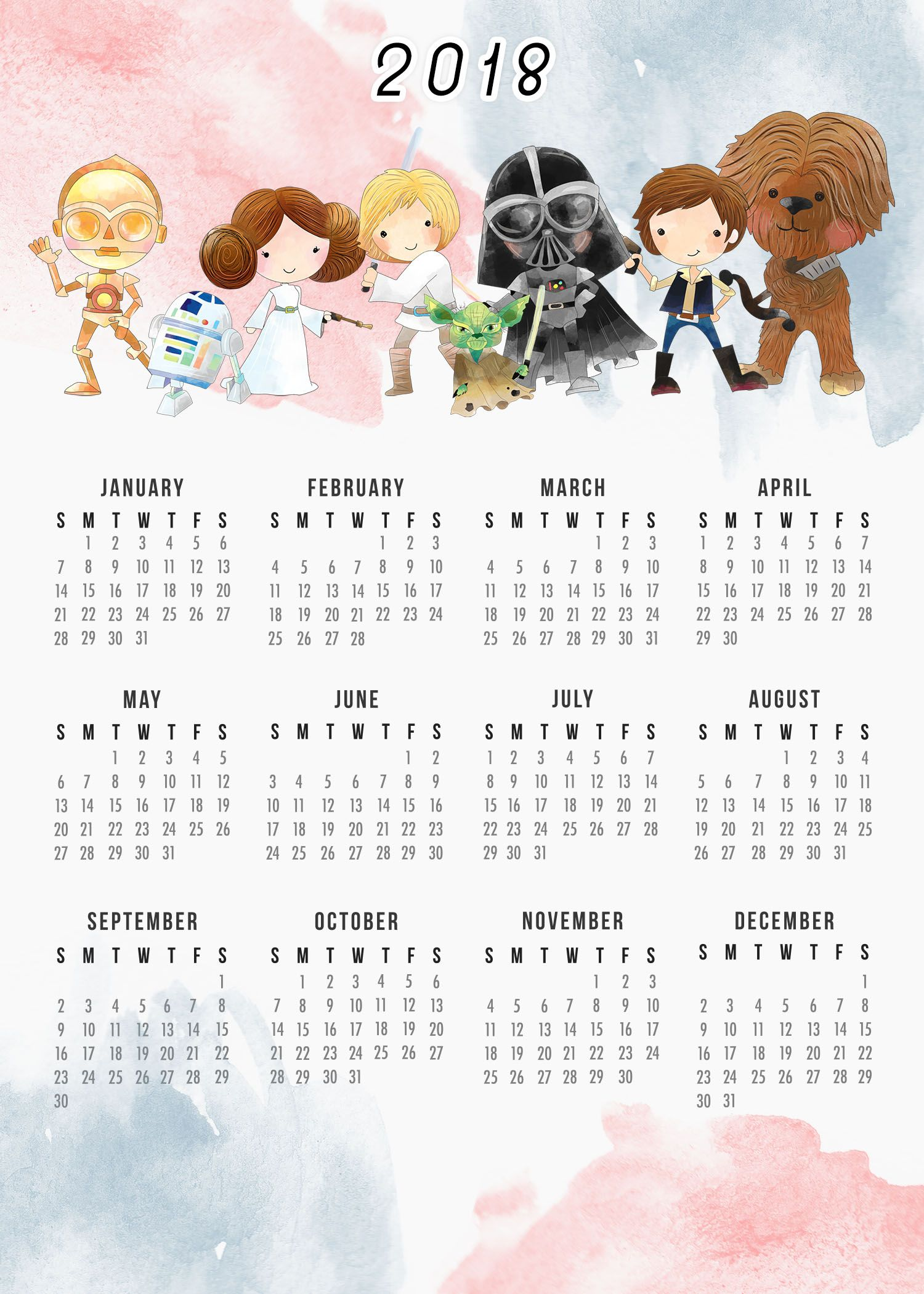 Free Printable 2018 Star Wars Calendar The Cottage Market