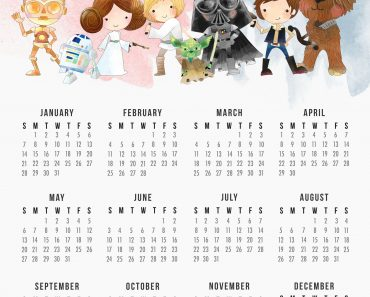 Free Printable 2018 Star Wars Calendar /// One Page /// Original