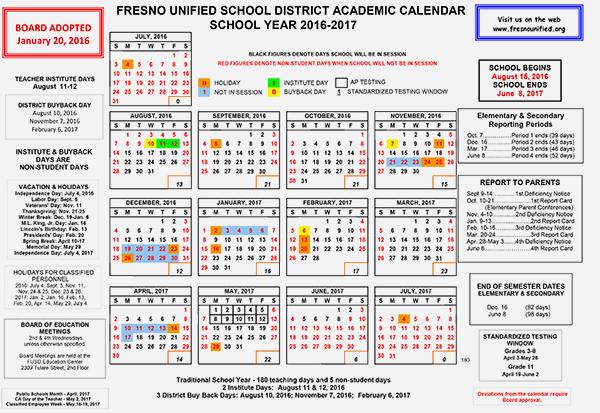 Fresno Unified Calendar – 2018 Calendar Template