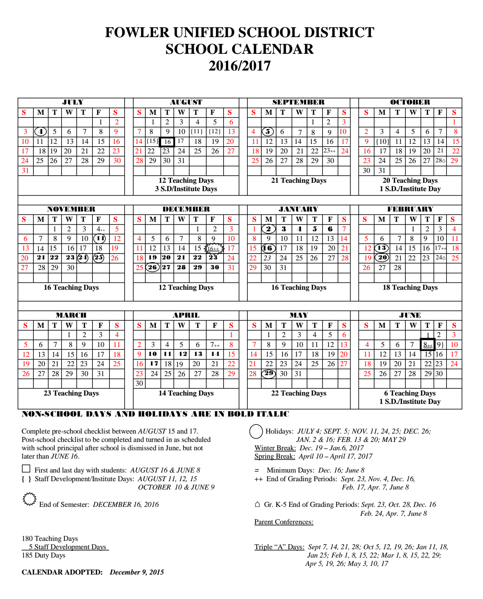 2016 2017 Calendar Fowler Unified School District