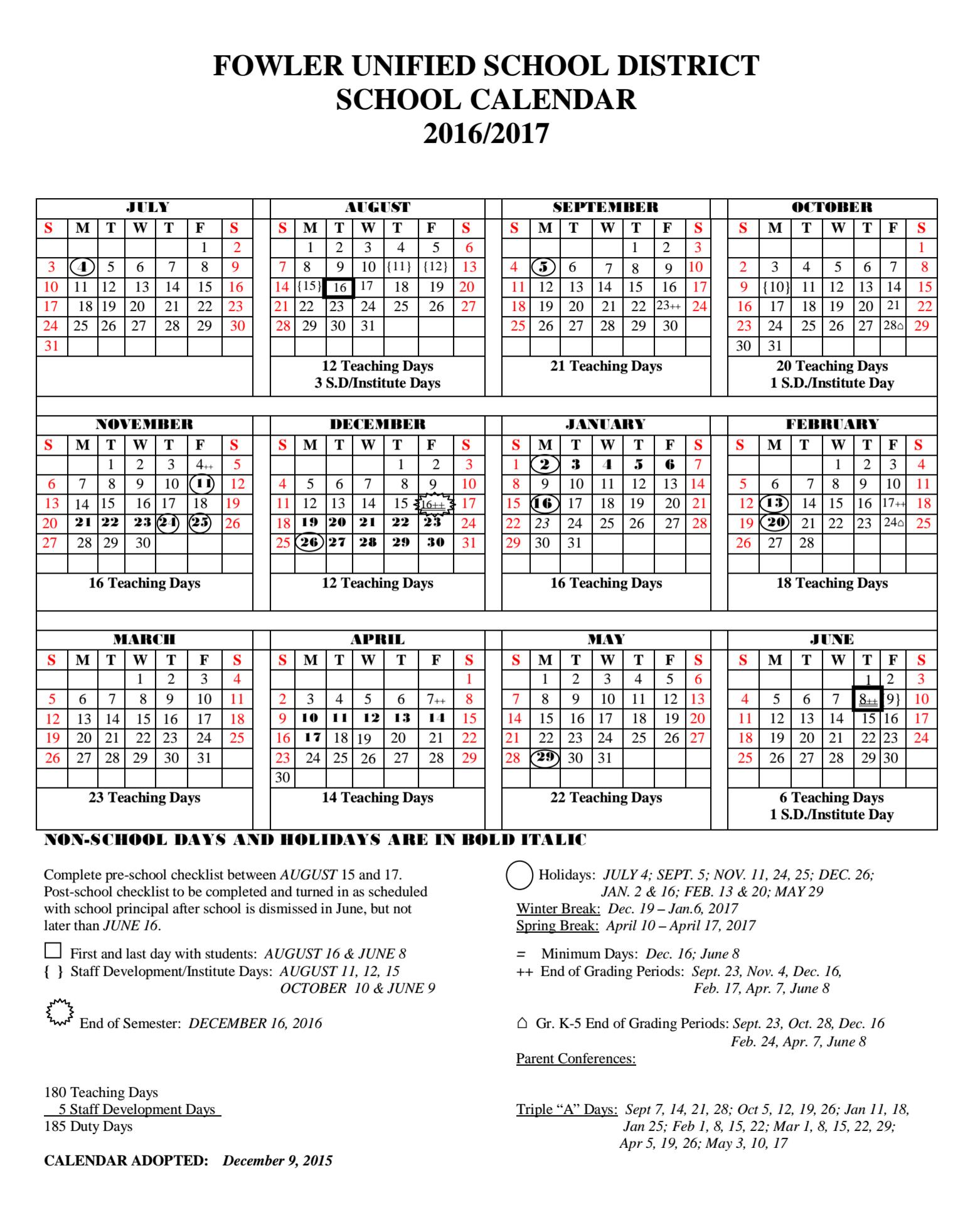 Fresno Unified Calendar 2019 Fresno Unified Calendar – 2018 Calendar Template | Calendar