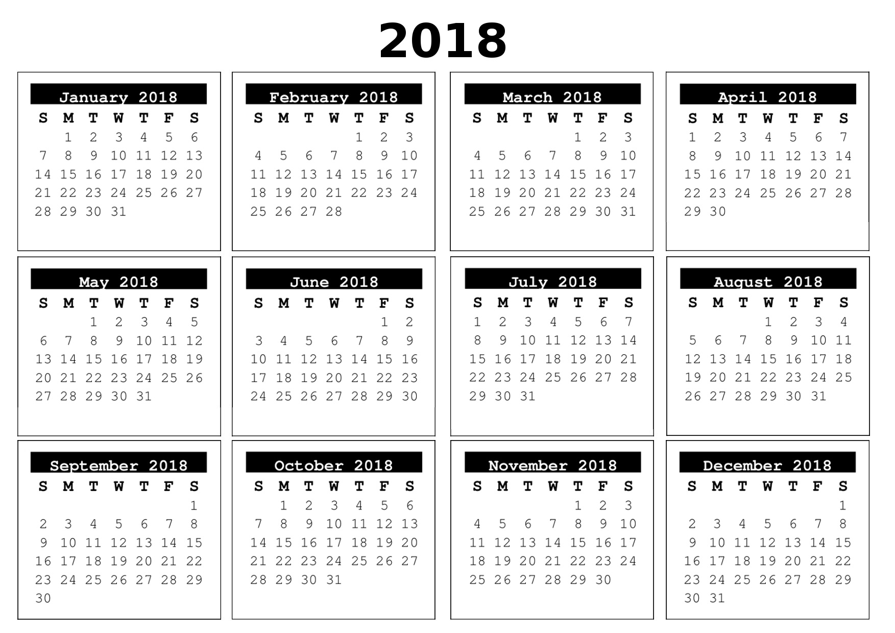 full year calendar 2018 Ideal.vistalist.co