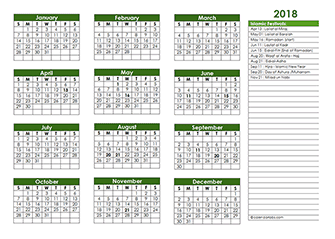 Islamic Festivals – Islamic Religious Calendar 2018