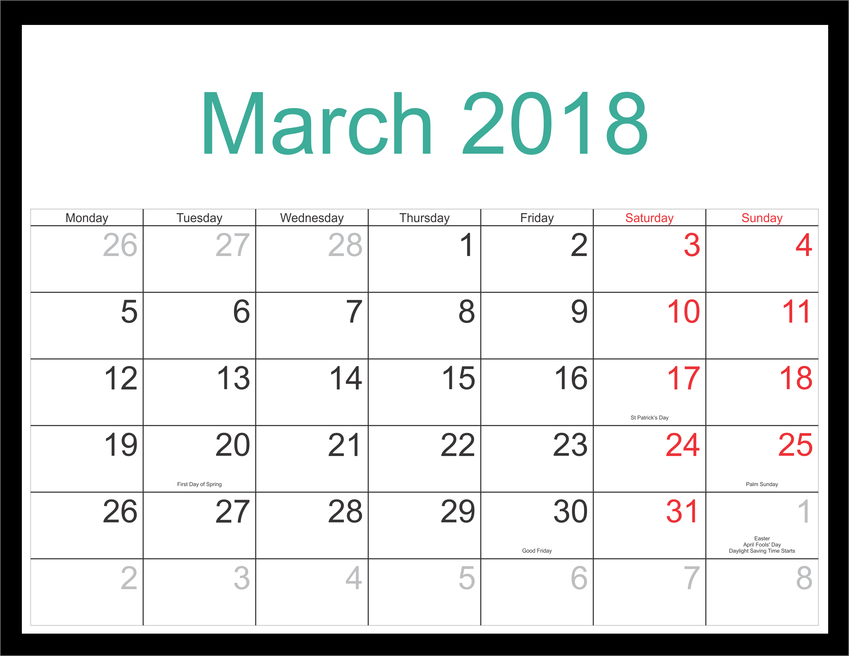 Free 5+ March 2018 Calendar Printable Template Source Template