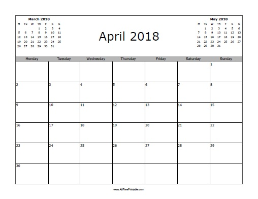 April 2018 Calendar Free Printable AllFreePrintable.com