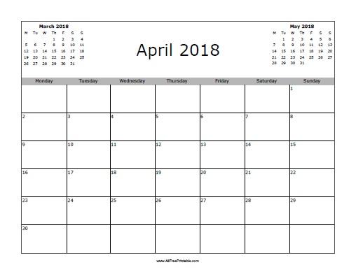 April 2018 Calendar Free Printable AllFreePrintable.com