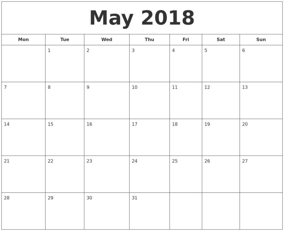 month calendar 2018 Ideal.vistalist.co