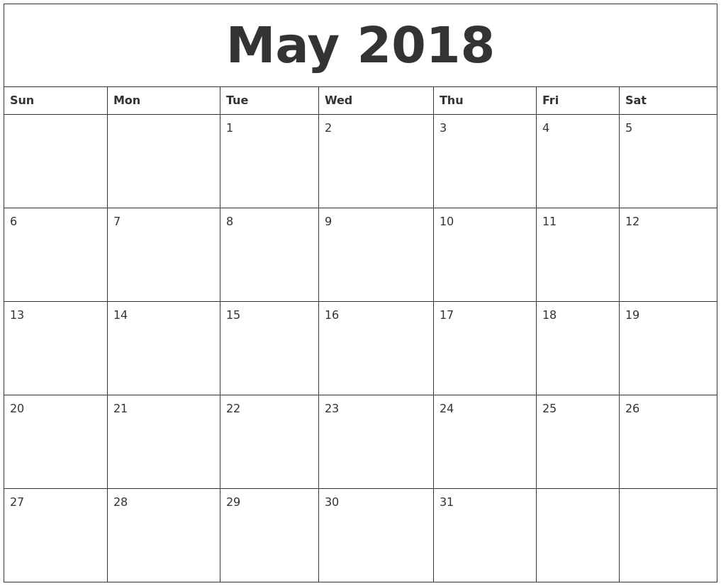 month of may 2018 calendar Ideal.vistalist.co