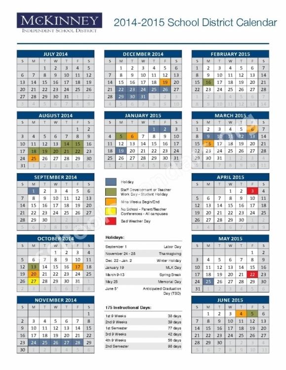 Mckinney Isd Calendar 2016 2017 * Calendar Printable Template