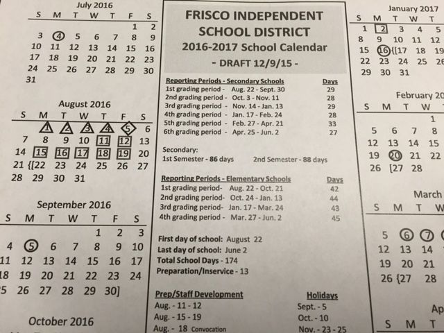 Frisco ISD approves 2017 18 school calendar | Community Impact