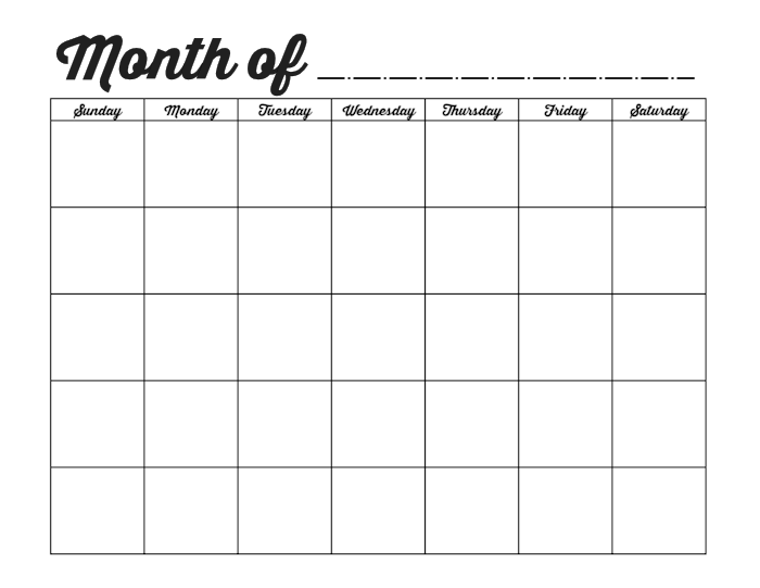 Fill In Calendar Template | calendar month printable