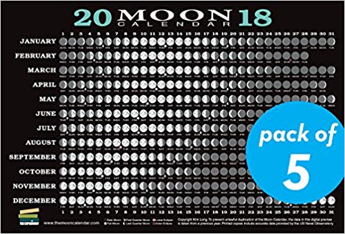 2018 Moon Calendar Card (5 pack): Lunar Phases, Eclipses, and More