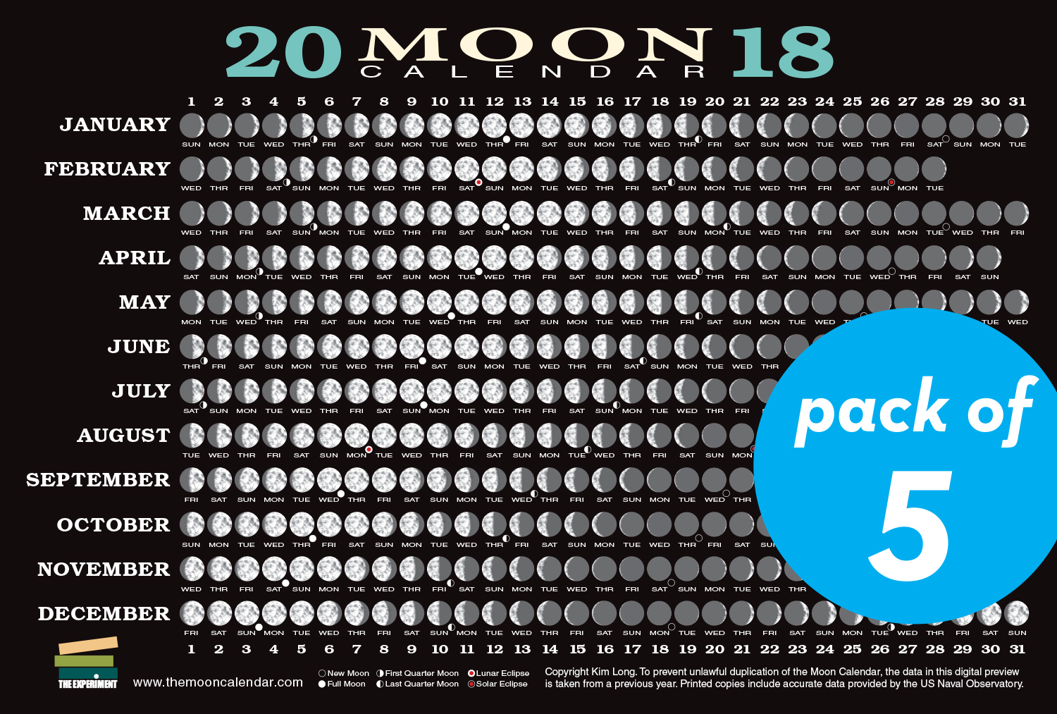 2018 Moon Calendar Card (5 pack) Workman Publishing