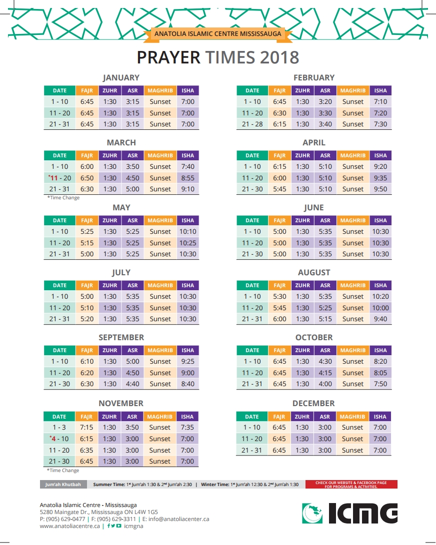 Prayer Times DC Muslim Salah Schedules for 2017 2018 Prayer