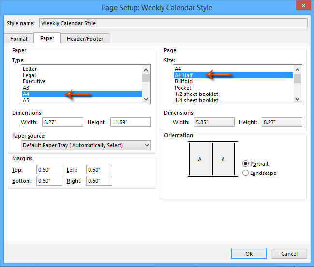 How to print two weeks/months of Calendar per page in Outlook?