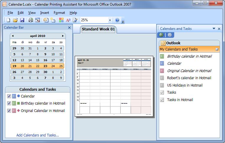 Printing combined Calendars MSOutlook.info