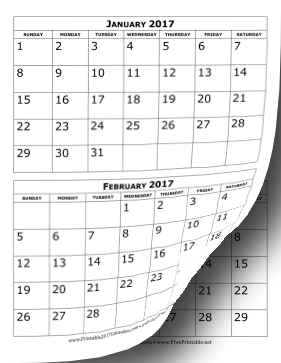 Printable 2017 Calendar Two Months Per Page