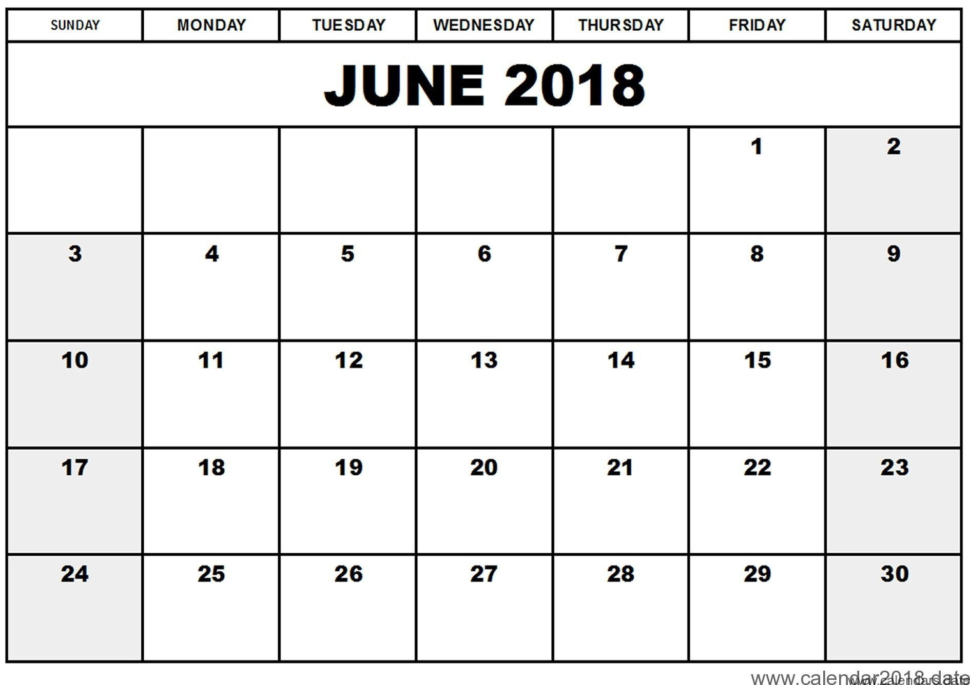 Printable June 2018 Calendar Template | Template Business Idea