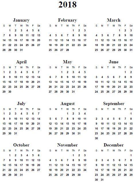 2018 mini calendar printable free Ideal.vistalist.co