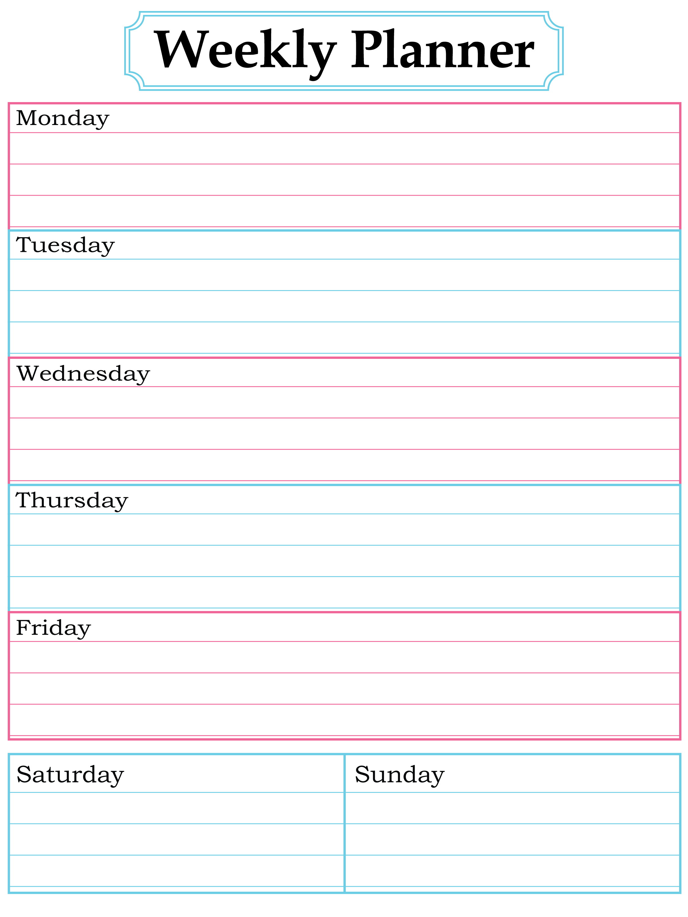 free weekly calendar template 2015 Ideal.vistalist.co