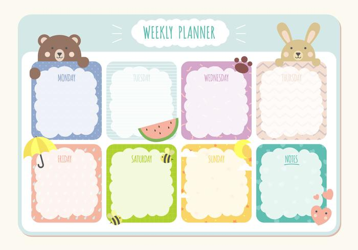 Printable Weekly Planner Calendar Template Download Free Vector