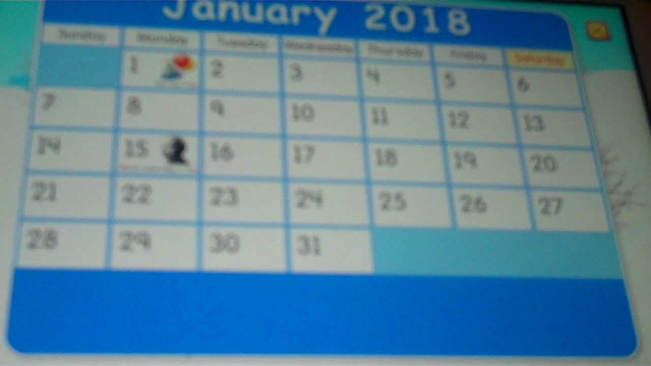 Starfall Calendar January 1, 2018 YouTube