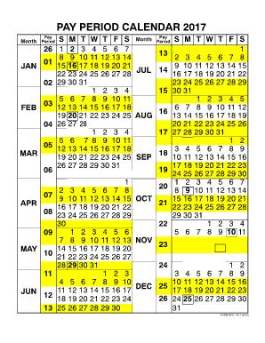 2017 Pay Period Calendar | Calendar 2017