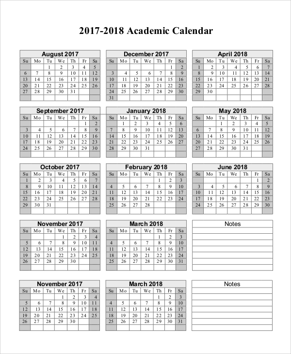 School Calendar 2018 2019 & Academic Calendar Templates
