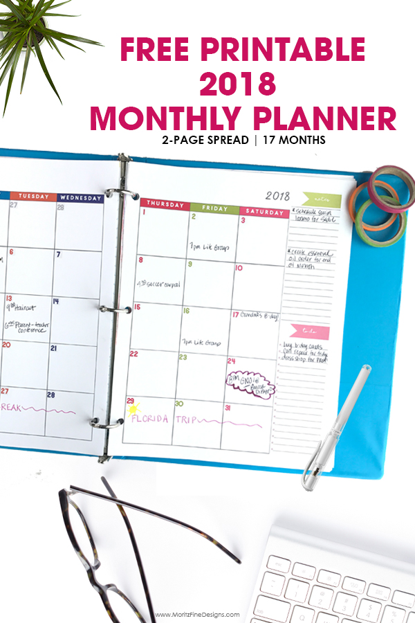 2018 Monthly Planner   Free Printable Calendar, 2 Page Spread