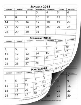 Printable 2018 Calendar Three Months Per Page