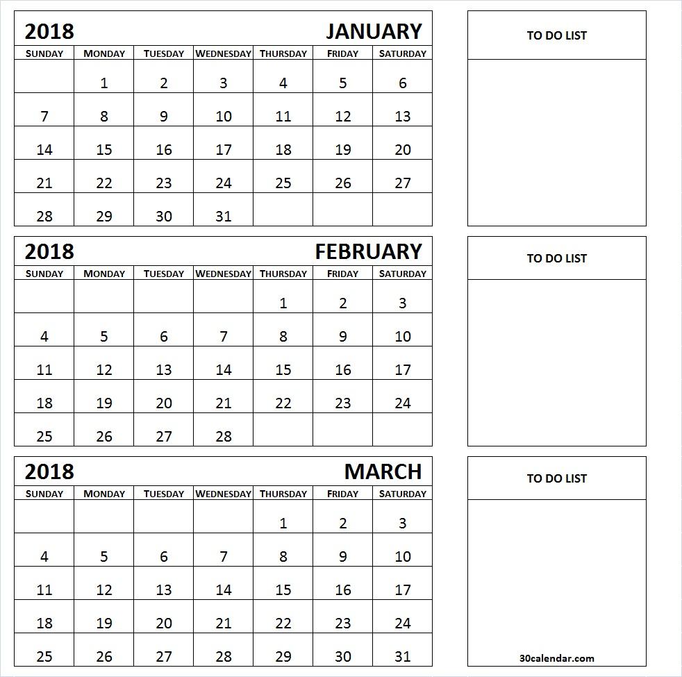 Next 3 Month Calendar Template 2018 | Calendar Printable Free