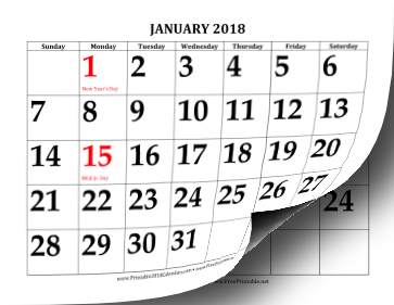 Printable 2018 Calendar with Large Print