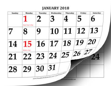Printable 2018 Calendar with Large Print