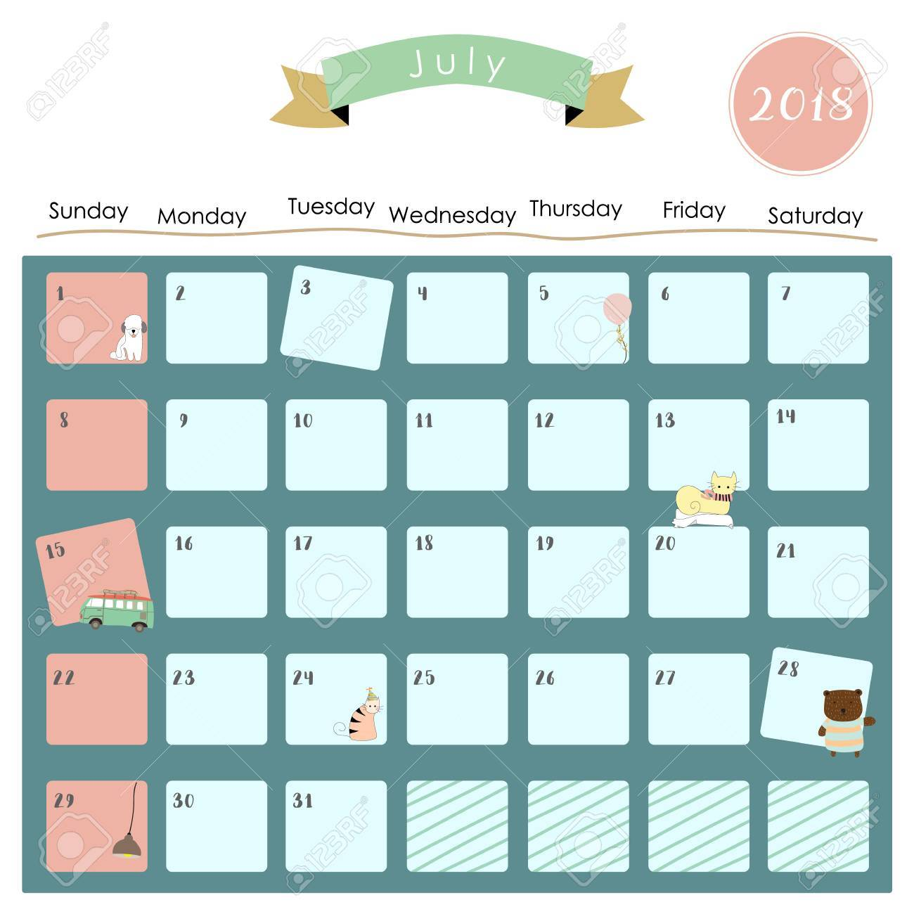 Colorful Cute July 2018 Calendar With Cat,balloon,van And Dog