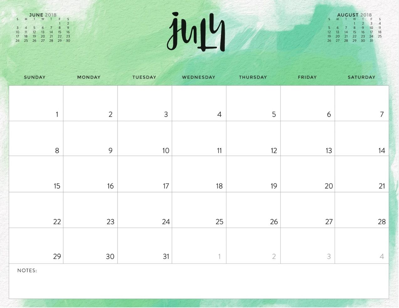 July 2018 Colorful Calendar For Office Desk | Calendar 2018