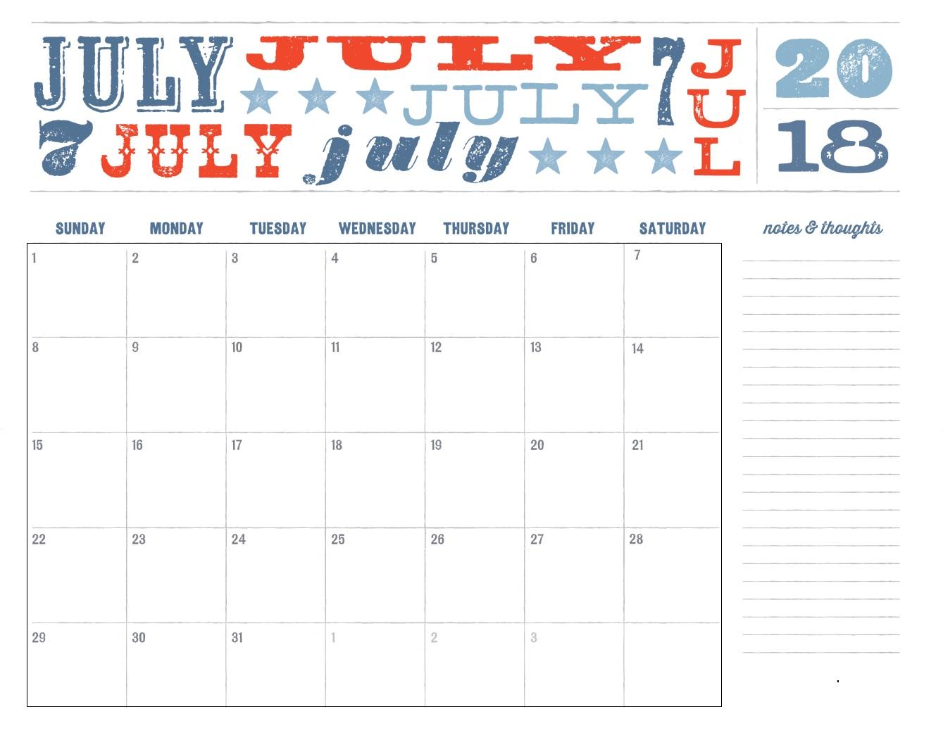 July 2018 Free Printable Calendar Calendar 2018 ~ July 2018 Calendar