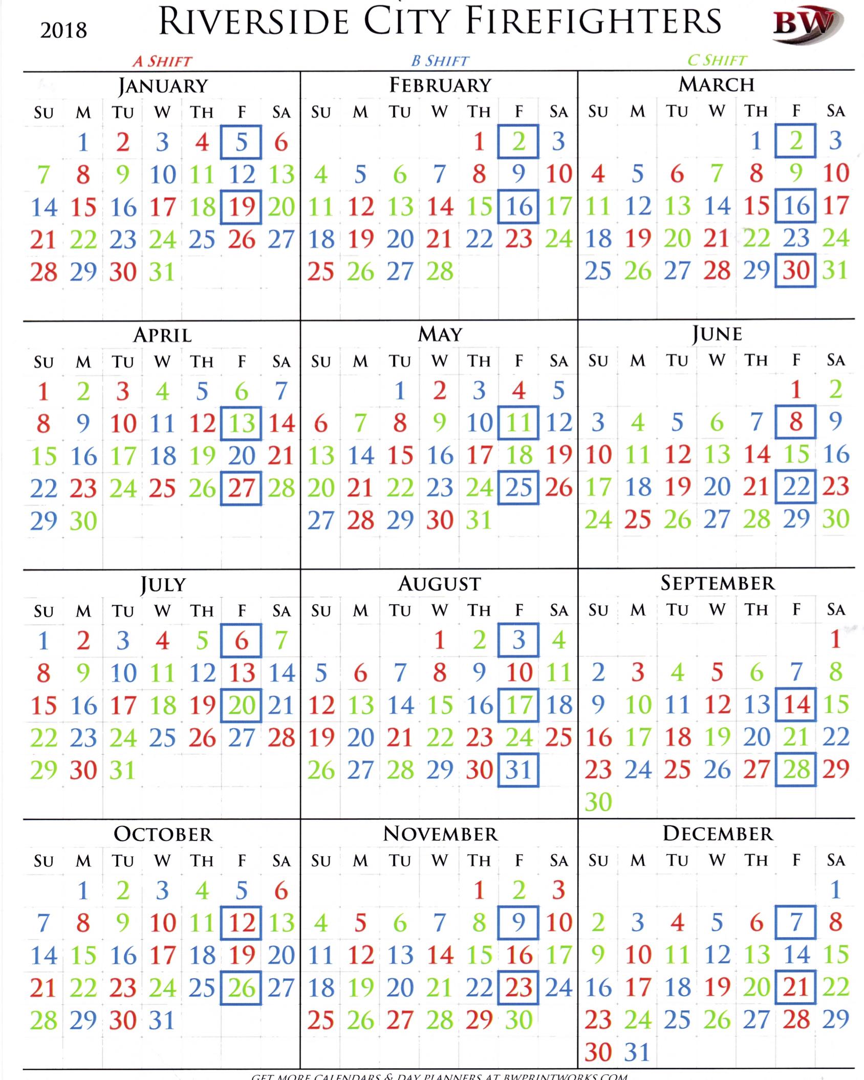 2018 Shift Calendar Riverside City Firefighters Association