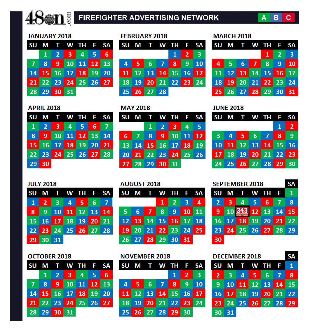 2018 Firefighter Shift Calendar – 48on.– 48on.com
