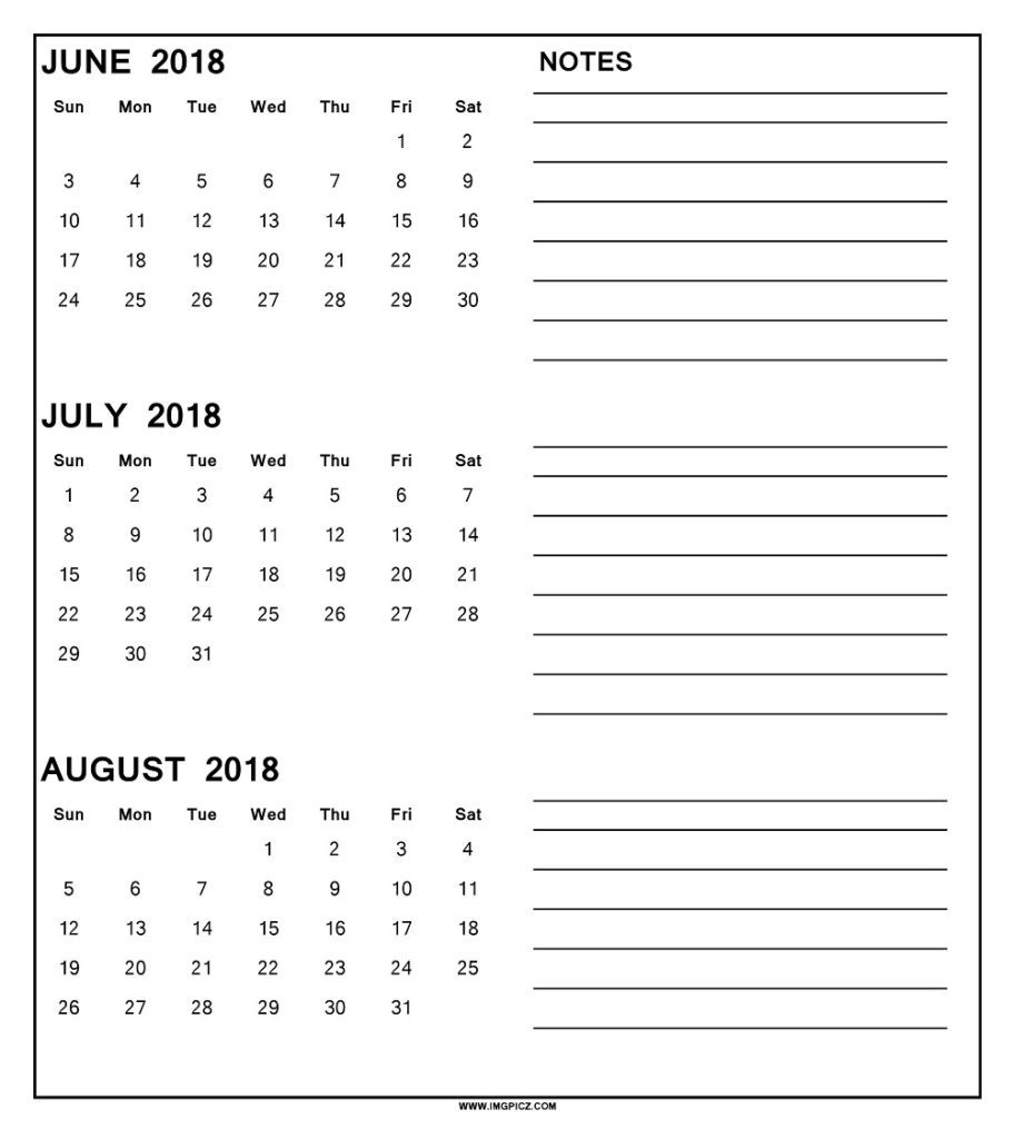 3 Month Calendar June July August 2018 Postrendy Showy