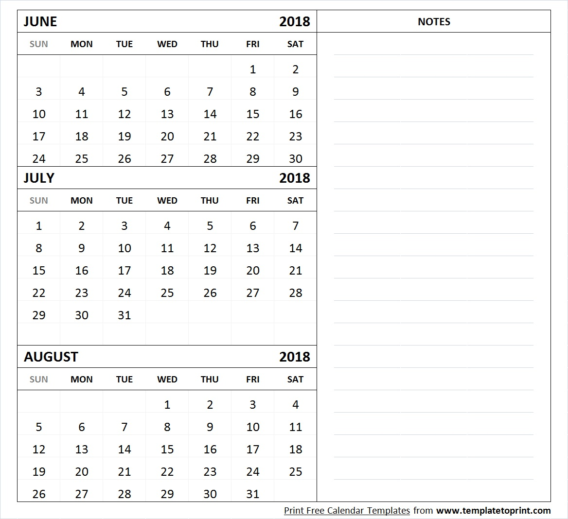 2018 Calendar May June July Template Free Printable 3 Month Bright