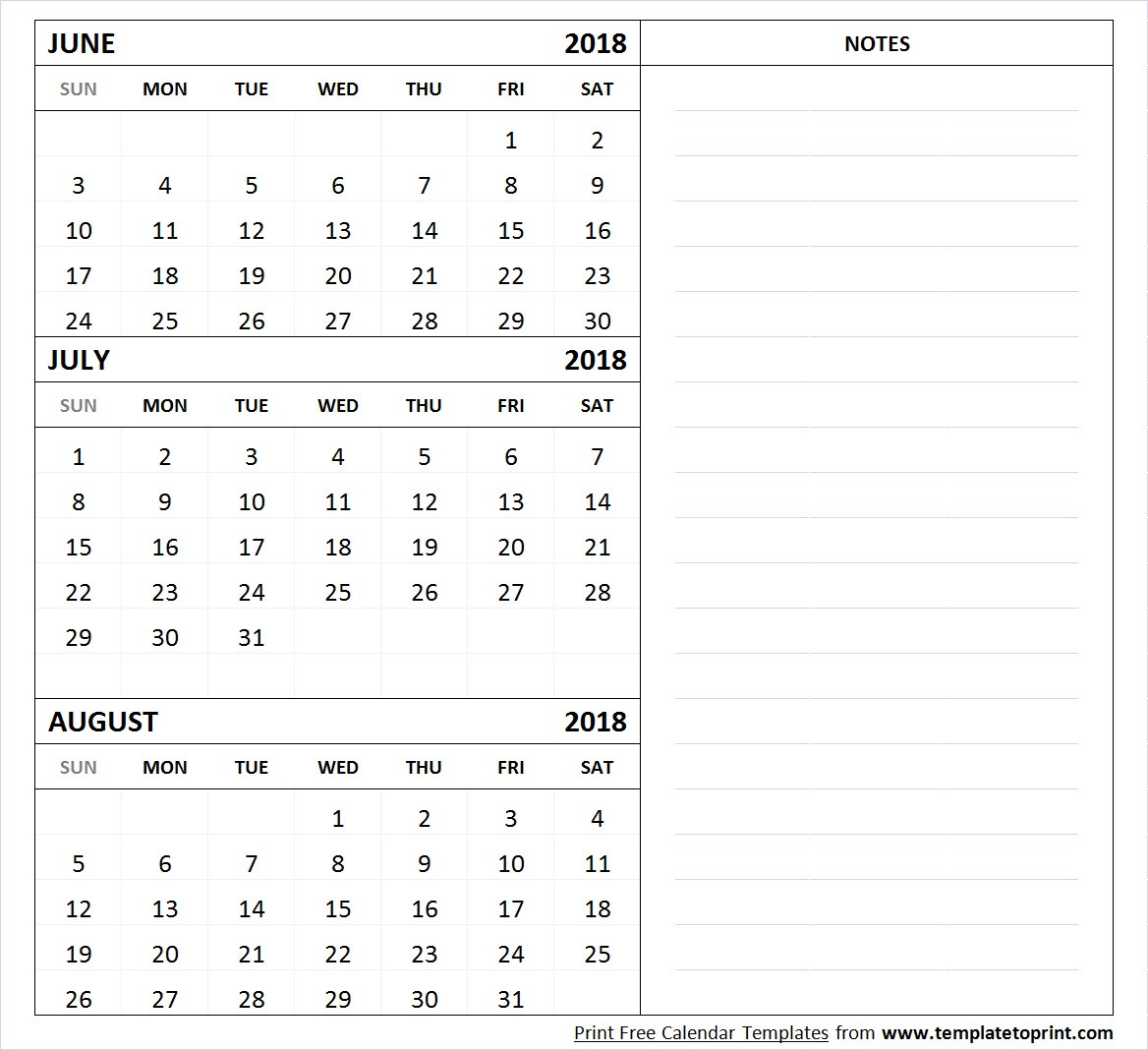 June July August 2018 Calendar Template Printable 3 Month