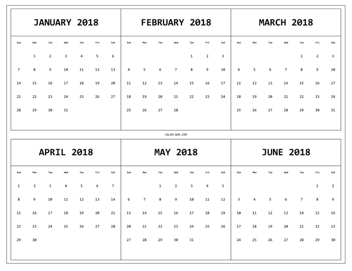 6 Month One Page Calendar 2018 | Calendar 2018