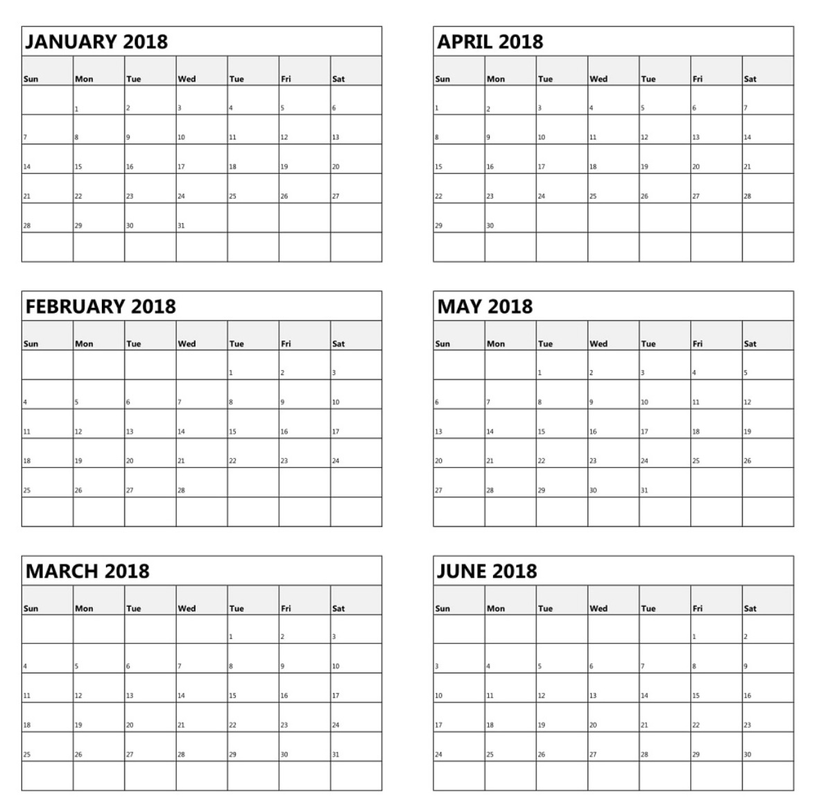 6 Month One Page Calendar 2018 Calendar 2019