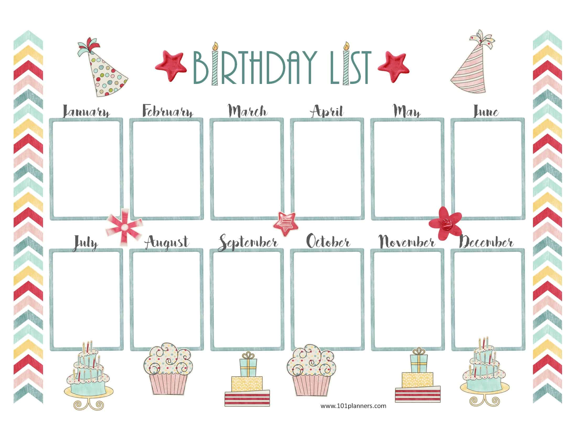 Free Birthday Calendar | Customize Online & Print at Home