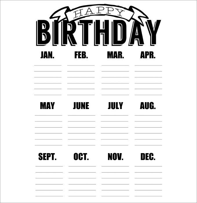 Birthday Calendars Printable Birthday Calendar 43 Calendar