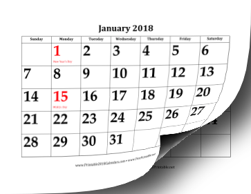 Printable 2018 Calendar with Large Dates