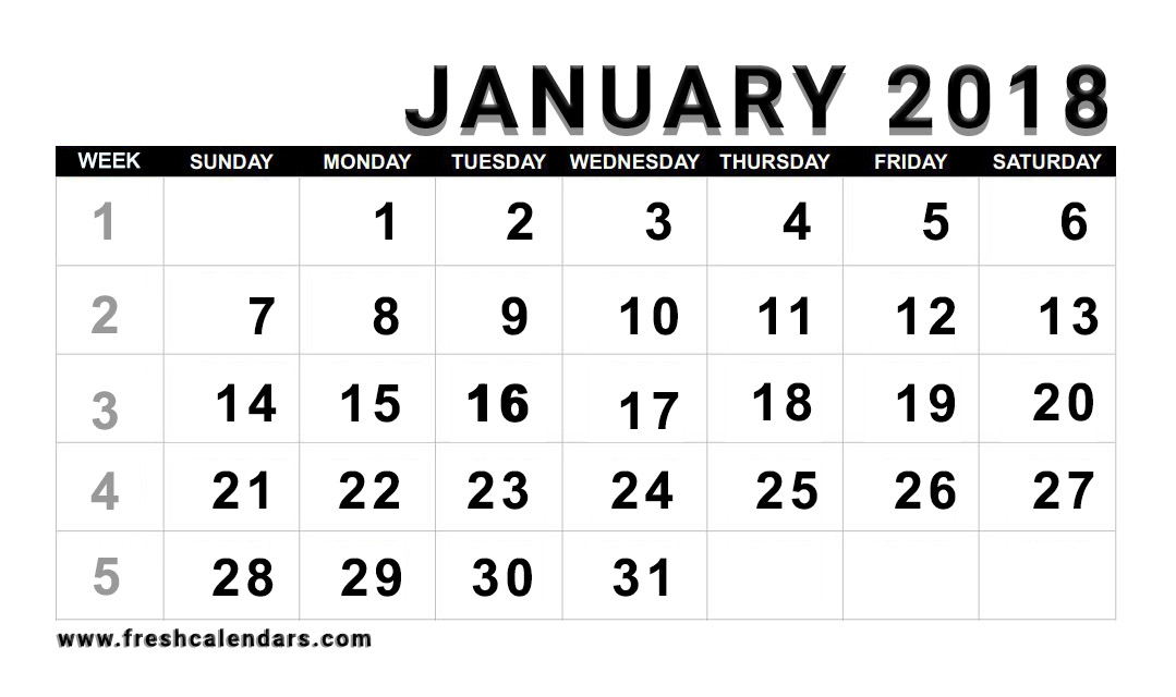 January 2018 Calendar Printable Templates